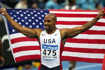 Leonard Scott of USA celebrates his victory in the men's 60m final (Getty Images)