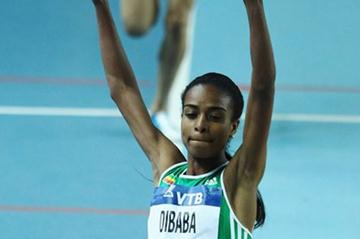 Genzebe Dibaba of Ethiopia celebrates as she crosses the line to win gold in the Women's 1500 Metres Final during day two - WIC Istanbul (Getty Images)