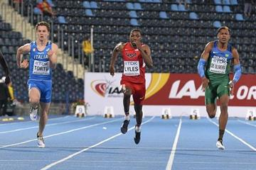Noah Lyles on his way to winning the 100m at the IAAF World U20 Championships Bydgoszcz 2016 (Getty Images)