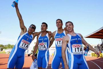 The Italian 4x100m team winner of the European Cup relay (Getty Images)