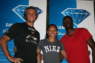 Andreas Thorkildsen, Allyson Felix and Teddy Tamgho meet with the press in Doha (Bob Ramsak)