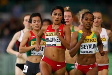 Dawit Seyaum and Brenda Martinez in the 1500m heats at the IAAF World Indoor Championships Portland 2016 (Getty Images)