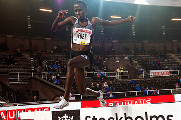 Ruth Jebet on her way to winning the 3000m steeplechase at the IAAF Diamond League meeting in Eugene (Hasse Sjogren)