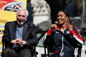 Ajee Wilson speaks at the press conference ahead of the IAAF World Indoor Championships Portland 2016 (Getty Images)