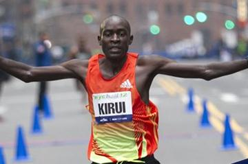 Peter Kirui winning the New York City Half Marathon (Courtesy of NYRR)