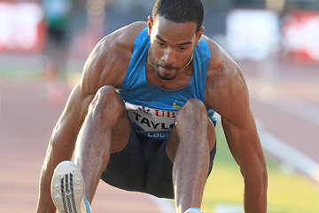 Christian Taylor in the triple jump at the IAAF Diamond League meeting in Lausanne (Victah Sailor)