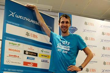 Bohdan Bondarenko at the pre-event press conference for the 2013 IAAF Diamond League in Zurich (Jiro Mochizuki)
