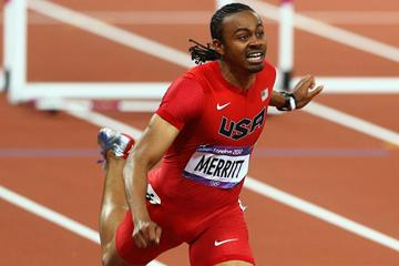 Aries Merritt of the United States crosses the finish line to win gold in the Men's 110m Hurdles Final on Day 12 of the London 2012 Olympic Games (Getty Images)