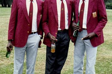 Lucas Sang (at right), with fellow 1988 Olympic 4x400m relay team members Simeon Kipkemboi (l) and Paul Ereng (c) (courtesy of Paul Ereng)