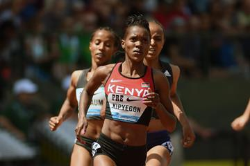 Faith Kipyegon at the 2016 IAAF Diamond League meeting in Eugene (Kirby Lee)