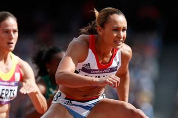 Jessica Ennis of Great Britain competes in the Women's Heptathlon 100m Hurdles Heat 1 on Day 7 of the London 2012 Olympic Games at Olympic Stadium on August 3, 2012 (Getty Images)