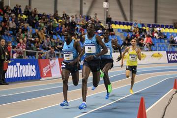 Paul Koech and Albert Rop duel in the 3000m at the 2014 Flanders Indoor meeting in Gent  (Jean-Pierre Durand)