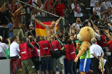Germany's Robert Harting winning a gold medal in front of a home crowd in the Berlin Olympic Stadium (Getty Images)