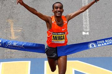 All smiles - Deriba Merga wins in Boston (Getty Images)