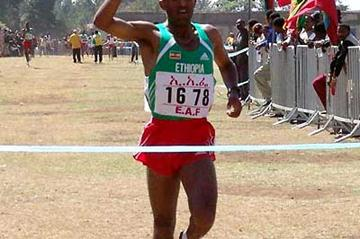 Abebe Dinkessa wins the 2005 Jan Meda Cross Country in Addis Ababa (Nahom Tesfaye)