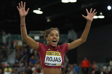 Yulimar Rojas after winning the triple jump at the IAAF World Indoor Championships Portland 2016 (Getty Images)