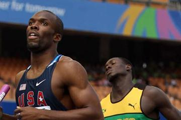 LaShawn Merritt of United States runs the final leg ahead of Leford Green of Jamaica in the men's 4x400 metres relay heats during day six  (Getty Images)