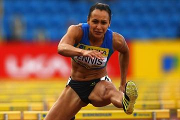 Jessica Ennis on the way to the national title in Birmingham (Getty Images)