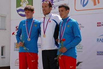 (L-R) Mikhail Ryzhov, Yohann Diniz and Ivan Noskov on the men's 50km podium at the 2013 European Cup Race Walking  (organisers)