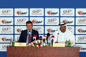 IAAF President Sebastian Coe and Qatar Athletics Federation President Dahlan Al Hamad in Doha (QAF)