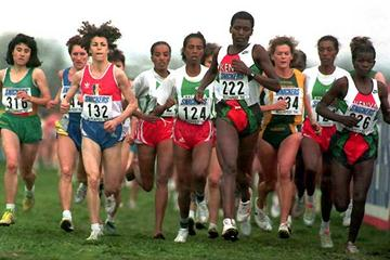Helen Chepngeno of Kenya, no.222, winner of the women's race at 1994 World Cross Country Championships in Budapest, Hungary (Getty Images)