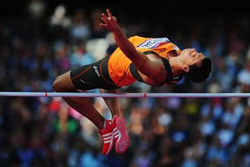 Eelco Sintnicolaas of Netherlands competes in the decathlon high jump (Getty Images)