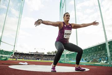 Sandra Perkovic at the 2014 IAAF Diamond League meeting in Stockholm (DECA Text & Bild)