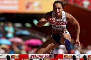 Jessica Ennis-Hill in the heptathlon 100m hurdles at the IAAF World Championships, Beijing 2015 (Getty Images)