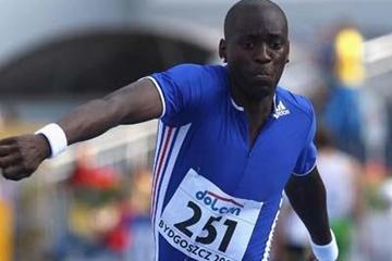 Teddy Tamgho of France on his way to victory in the Final of the Men's Triple Jump (Getty Images)