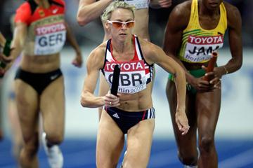 Women's 800m bronze medallist Jennifer Meadows of Great Britain & Northern Ireland takes the baton in the women's 4x400m heats in Berlin (Getty Images)