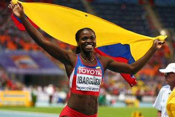 Caterine Ibarguen in the triple jump at the IAAF World Championships, Moscow 2013  (Getty Images)