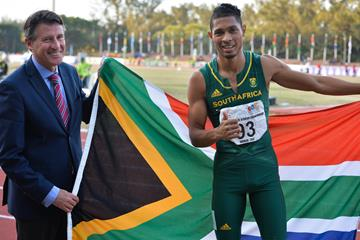 IAAF President Sebastian Coe with world 400m champion Wayde van Niekerk in Durban (Roger Sedres)