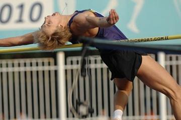 Olympic champion Andrey Silnov high jumping at 2010 Znamenskiy Memorial (LOC)