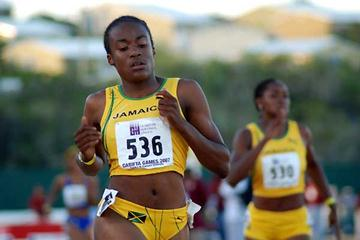 Shana-Gaye Tracey (JAM), a World Youth Champs prospect, seen winning the Under-20 girls 400m Hurdles at Carifta Games on Sunday (Anthony Foster)