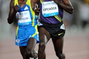 Eliud Kipchoge, the winner of the Doha 5000m (Jiro Mochizuki)