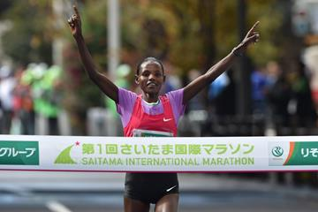Atsede Baysa wins the 2015 Saitama International Marathon (Getty Images / AFP)
