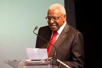 Lamine Diack at the 2013 World Athletes of the Year press conference (Philippe Fitte)