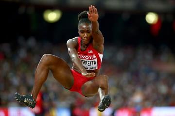 Tianna Bartoletta in the long jump final at the IAAF World Championships, Beijing 2015 (Getty Images)