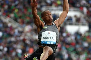 Ruswahl Samaai in the long jump at the IAAF Diamond League meeting in Rabat (Kirby Lee)
