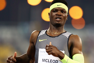 Omar McLeod after winning the 110m hurdles at the IAAF Diamond League meeting in Doha (Getty Images)