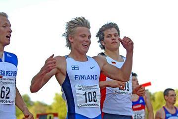 Visa Hongisto (FIN) - U23 200m winner (Hasse Sjögren)