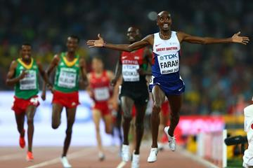 Mo Farah wins the 500m at the IAAF World Championships, Beijing 2015 (Getty Images)