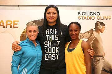 Sally Pearson, Valerie Adams & Brianna Rollins at the 2014 IAAF Diamond League press conference in Rome (Giancarlo Colombo)