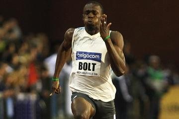 Usain Bolt of Jamaica on his way to winning the 100m in Brussels in 2008 (Getty Images)
