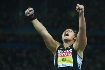 Valerie Vili of New Zealand celebrates winning the gold medal in the women's Shot Put Final (Getty Images)