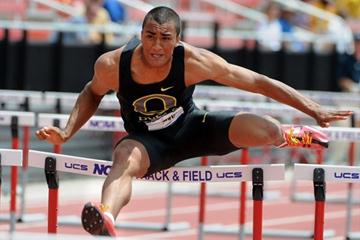 Ashton Eaton en route to his 8241 point tally at the NCAA Championships (Kirby Lee)