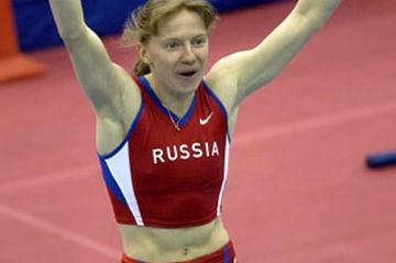 Svetlana Feofanova celebrates her new world indoor record (Getty Images)