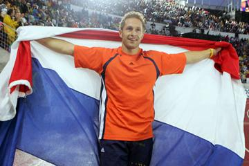 A delighted Rens Blom - Pole Vault World champion (Getty Images)