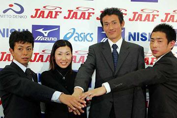 (left to right) - Tsuyoshi Ogata/Mari Ozaki/Toshinari Takaoka/Michitaka Hosokawa - Japan selects Helsinki squad (Kazutaka Eguchi (Agence SHOT))