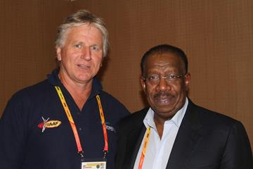 Asia and Oceania Area Association presidents Geoff Gardiner and Dahlan Jumaan Al Hamad ahead of the IAAF Continental Cup, Marrakech 2014 (David Tarbotton)
